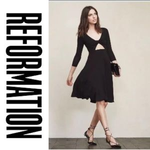 Reformation Mora Midi Dress cutout twist front
